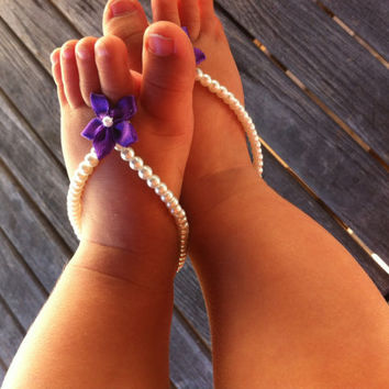 Baby barefoot sandals baby girl jewelry baby by Aupetitpied