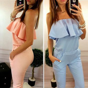 2016 summer new fashion women solid color ruffles jumpsuit sexy strapless tunic rompers plus size Long Trousers