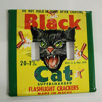 black cat switch plate retro vintage firecracker rockabilly 1950's kitsch