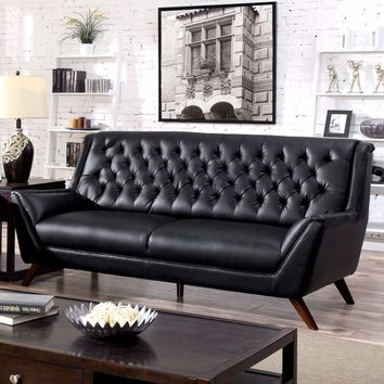 Bonded Leather Sofa With Button Tufted Design, Black