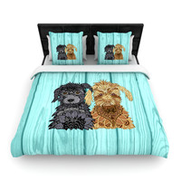 "Art Love Passion ""Daisy and Gatsby"" Abstract Puppies Woven Duvet Cover"