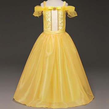 Fancy Princess Cosplay Belle Beauty And The Beast Solid Ball Halloween Party Prom Gown Role Play Girls Clothing Tutu Girl Dress