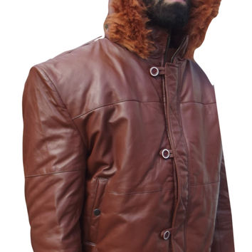 Mens Leather Jacket Brown Hooded Puffy Fur Trim 2XL