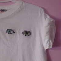 David Bowie's eyes, hand-embroidered tee