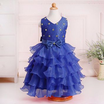 Retail Crystal V-Neck Kid Flower Girls Summer Wedding Prom Dress Tiered Knee-Length Girls Communion Party Dress With Bow L1200