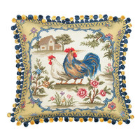 123 Creations Country Rooster 100% Wool Needlepoint Pillow