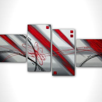 Abstract painting - Red and Gray painting - Contemporary art - multi panel art modern painting on canvas ready to hang - Very large art