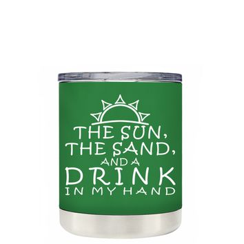 TREK The Sun The Sand and a Drink in my Hand on Kelly Green 10 oz Lowball Tumbler