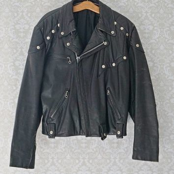 Vintage 1960s Leather Biker + Skull Studs Punk Jacket