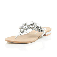 River Island Womens White gem and stone embellished sandals