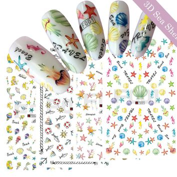 1 Sheets New 3D Colorful Yellow Sea Shell Star Designs Nail Art Tips DIY Charm Sticker Decalsail Art Decoration Tool TRF001-004