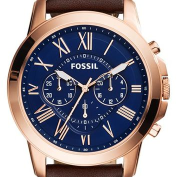 Fossil 'Grant' Round Chronograph Leather Strap Watch, 44mm - Brown/ Rose Gold/ Black