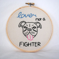 Pitbull Embroidery Hoop. Hand Made Embroidered Wall Art.