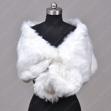 DCK9M2 Real Faux White Fur Jacket Fashionable Bolero Women Wedding Dress Accessories 2016 New Arrival Stole For Parties