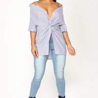 Cameron Off The Shoulder Top - Blue/White