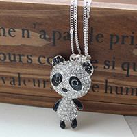 Kawaii Diamond Panda Pendant Ladies Necklace : Wholesaleclothing4u.com