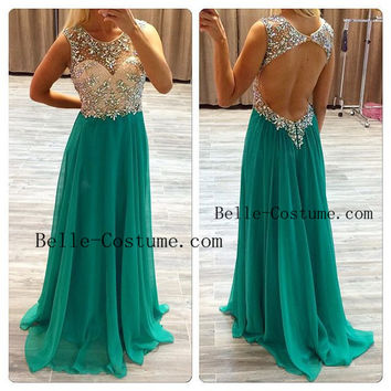 Backless Prom Dresses, Open Back Prom Dresses 2016, Green Prom Dresses, Backless Evening Dresses