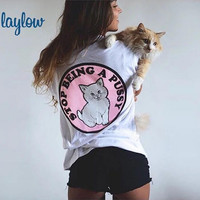 White Back Animal Patch Print T-Shirt
