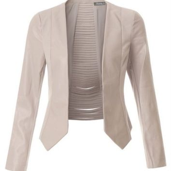 2Sable Faux Leather Cropped Blazer Jacket
