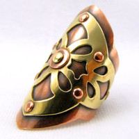 Copper and Brass Saddle Ring Hand Sawn Starburst Design Adjustable Ring Copper Ring Arabesque Ring