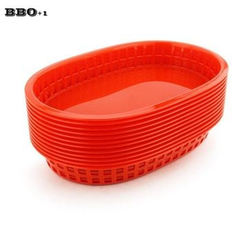 Hot 12pcs/lot Large Fast Food Platter Basket Red Plastic Dinner Plates Serving Platter Plastic Food Tray For Restaurant 10.5''