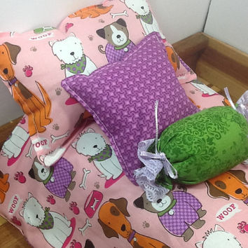 Doll Bedding, pink with puppy dogs, comforter, 2 pillows and bolster, reversing to pink and white polka dot,  for 18 inch doll beds