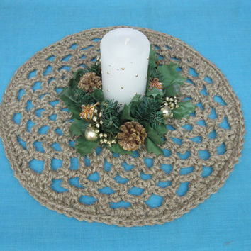 Round Centerpiece Doily - Crochet Jute Centerpiece - Jute Trivet - Natural Tablescape - Crochet Table Centerpiece - Centerpiece Doily Doily