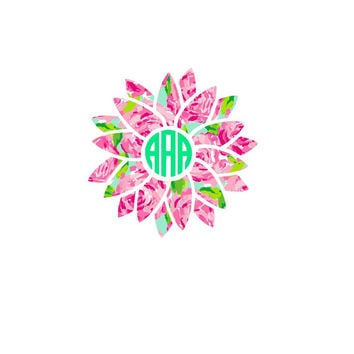 Lilly Pulitzer Inspired Sunflower Monogram Decal | Flower Monogram Decal | Car Decal | Yeti Decal | Flower  | Monogram Sticker | Floral