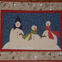Snowman Christmas Winter Quilted Wall Hanging Holiday Quilt
