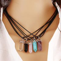 2016 Fashion Jewelry Hexagonal Column Bullet Pendant Necklace Charm Natural Quartz Turquoise Agate Amethyst Stone Clavicle Chain