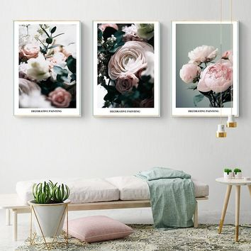 SURE LIFE Modern Rose Flower Plants Canvas Painting Nordic Digitally Decorative Wall Art Pictures Poster Print Living Room Decor