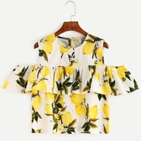 Cotton Linen Summer Off The Shoulder Tops For Women Female Casual Ruffle Floral Print T-Shirt Crop Top Clothing