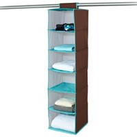 The Macbeth Collection 6-Shelf Hanging Closet Organizer in Chocolate