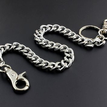Metal Silver Color Wallet Long Chain Biker Hip Hop Anti Chief Solid Chain