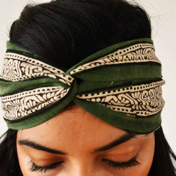 The Secret Garden Turban Headband Upcycled Head Wrap  - Hand block printed, All Natural Vegetable Dyes, 100% Cotton Bohemian head band