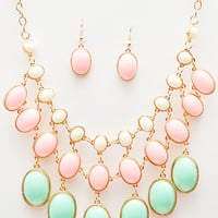 Sunshine Teardrop Necklace Set - Pastel - One