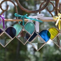 Trio of Heart Shaped Real Stained Glass Window Ornaments, Unique and Beautiful , Special and Lasting Gift, Order Early!
