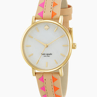 Metro Goldtone Stainless Steel, Mother-of-Pearl & Vachetta Leather Zigzag Strap Watch