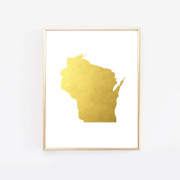Wisconsin State Gold Foil Art Print