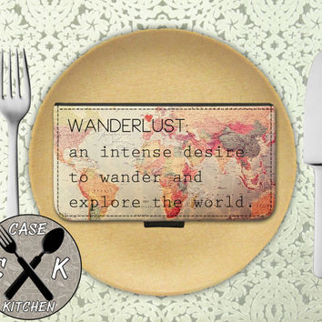 Wanderlust Definition World Map Vintage Travel Cute Wander Custom Wallet Phone Case For The iPhone 4 and 4s and iPhone 5 and 5s and 5c