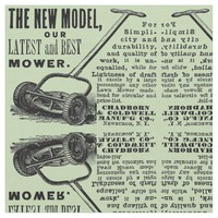 Vintage lawn mower advert fabric