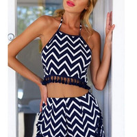 Chevron Print Pom Pom Top and Shorts Two Piece Set