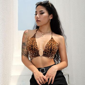 Leopard Printed Sexy Halter Crop Top Women Camis Backless Bandage Lace Up Sequins Metal Ring Tank Top 2018 Party Club Bustier