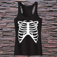 Womens Halloween RIB CAGE Tri Blend Tank top for womens and mens heppy fit