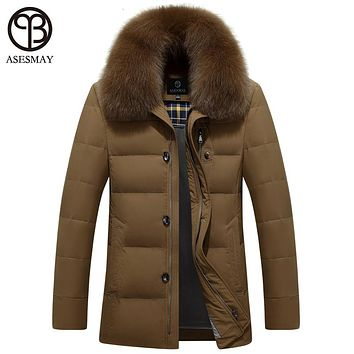 Asesmay brand new arrival men down jacket winter men's duck down jackets thick warm wellensteyn jacket natural fur snow coats
