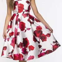 Chic Rose Print Strapless Backless Midi A-line Dress