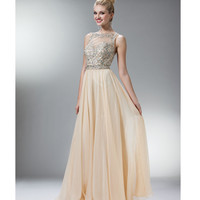 (PRE-ORDER) 2014 Prom Dresses - Champagne Chiffon & Stone Criss Cross Gown