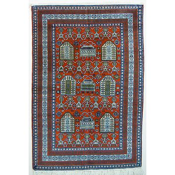 Oriental Shirvan Persian Tribal Wool Rug, Red/Blue