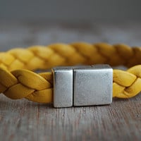 Mustard yellow leather bracelet braided // custom length // sporty casual // unisex // modern