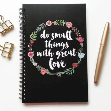 Writing journal, spiral notebook, bullet journal, cute notebook, diary sketchbook blank lined grid, floral - Do small things with great love
